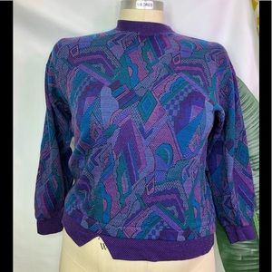 vintage purple patterned sweater plus size